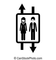 elevator with people inside icon