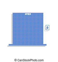 elevatoren, deur, teken., vector., neon, blauwe , pictogram, met, cyclaam, polka
