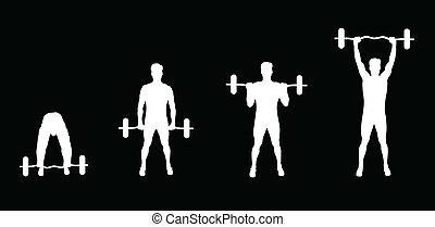 elevatoren, vægte, mand