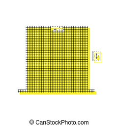 Elevators door sign. Vector. Yellow icon with square pattern dup