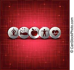 eleven, állhatatos, egészséges, jelkép, háttér, elvont, piros