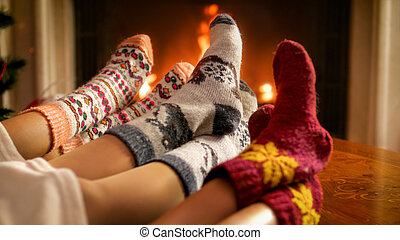 eleven, égető, család, kép, lábak, -eik, kandalló, melegítés, szoba
