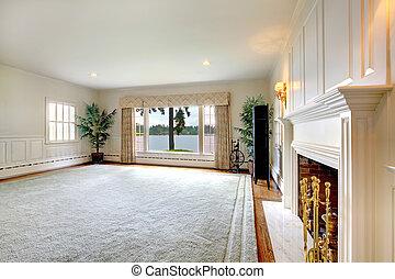 eleven, öreg, szoba, tó, nagy, történelmi, belső, nézet., kandalló