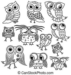 Eleven cartoon funny owl outlines - Set of eleven funny...