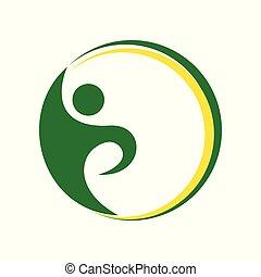 eleven, egészséges, jelkép, zöld, swoosh, tervezés