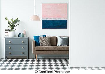 eleven, festmény, szoba, színes