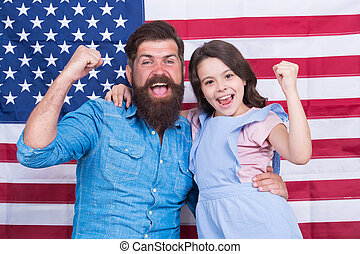 eleven, kevés, büszke, család, háttér., nyertes, szakállas, day., misét celebráló, lobogó, americans., gyermek, gesztikulál, amerikai, lenni, ember, álmodik, szabadság, boldog