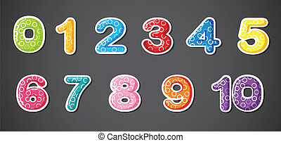 Eleven numerical figures - Illustration of the eleven...