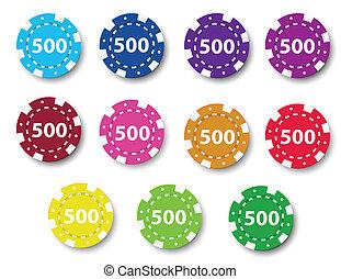Eleven poker chips