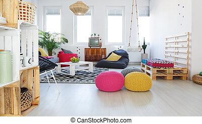 eleven, retro, színes, szoba