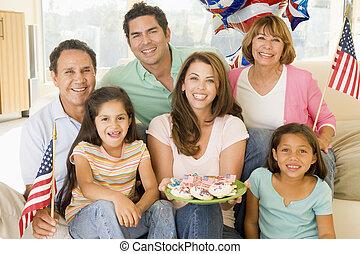 eleven, süti, szoba, család, dél, zászlók, negyedik, július
