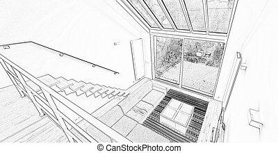 eleven, Szoba,  Windows,  modern, nagy, rajz