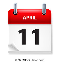 Calendar - Eleventh in April Calendar icon on white...