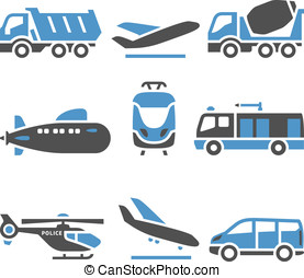 eleventh, set, -, trasporto, icone