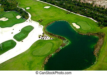 Elevevated view of golf course