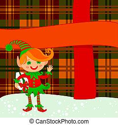 Elf and big present