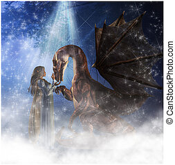 Elf and Dragon - Elven queen greets a magic dragon in a...