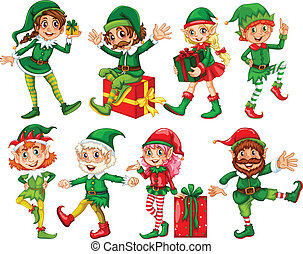 Elf and presents - Illustration of many elfs with presents