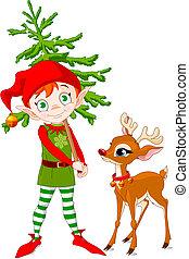 Rudolf and Cute Christmas elf hording Christmas tree
