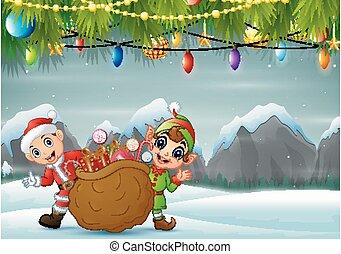 Elf and santa claus carrying christmas presents in winter background