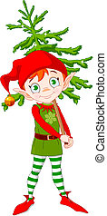 Elf and Tree - Illustration of Cute Christmas elf hording...