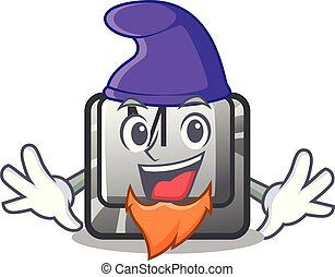 Elf button M on a keyboard mascot