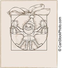 Elf carrying christmas presents vector cartoon illustration.