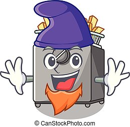 Elf cartoon deep fryer in the kitchen vector illustration