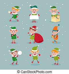 Elf. Cartoon santa claus helpers, dwarf christmas vector fun elves characters isolated