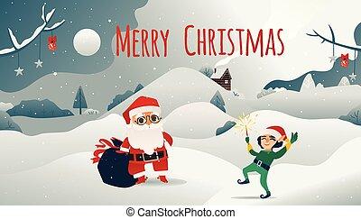 elf., claus, illustration, vecteur, bannière santa, noël