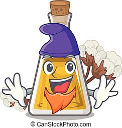 Elf cottonseed oil in a mascot bottle vector illustration