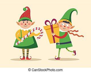 elf, cukierek, łuk, przedstawia się, dzierżawa, ozdobny, ...