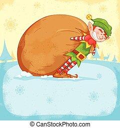 Elf dragging sack full of Christmas gifts