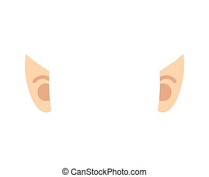 Elf ears isolated. Template portrait. Vector illustration