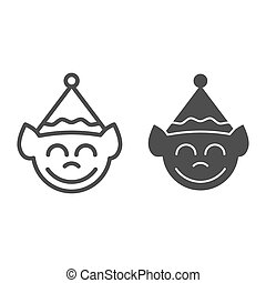 Elf face line and glyph icon. Christmas elf vector illustration isolated on white. Santa elf outline style design, designed for web and app. Eps 10.