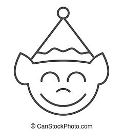 Elf face thin line icon. Christmas elf vector illustration isolated on white. Santa elf outline style design, designed for web and app. Eps 10.