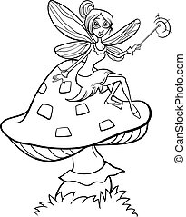 elf fairy fantasy cartoon coloring page - Black and White...