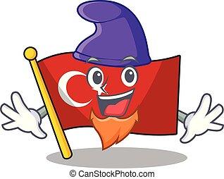 Elf flag turkey character on shaped cartoon