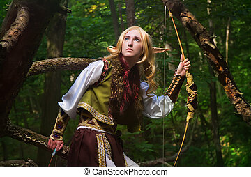 Elf From The Woods - Elf holding a bow with an arrow