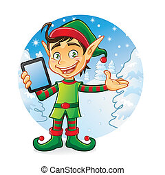 Elf Gadget - Cartoon young elf is holding iPad with a...