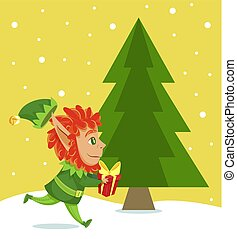elf, giftbox, drzewo, chwilowy, sosna, świerk, wyścigi