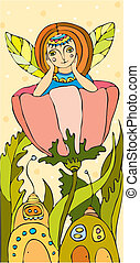 Elf Girl Flower - little girl with wings as at a dragonfly...