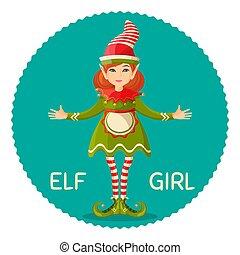 Elf girl human-shaped supernatural female being in green apparel