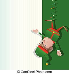Elf hanging upside down and pointing at a blank banner.