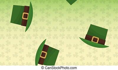 Elf hats falling st patricks HD animation - Elf hats falling...