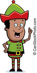 Elf Idea - A happy cartoon Christmas elf with an idea.