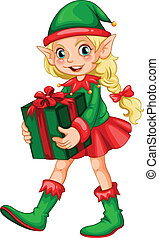 Elf - Illustration of an elf with a present