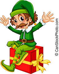Elf - Illustration of an elf and a present
