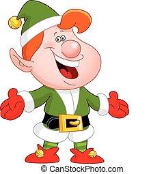 Elf - Cheerful elf raising his arms