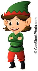 Elf in green shirt and hat illustration